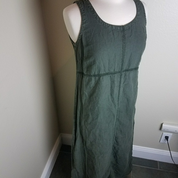 Johnny Was Dresses & Skirts - Johnny Was green linen maxi dress button back M